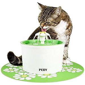 PEDY Fontaine à Fleur pour Chat 1,6 L, Distributeur de Nourriture Eau avecTapis en Silicone, Vert, GS / ROHS / CE…