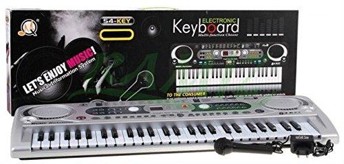 Keyboard MQ-824USB mit Aufnahme-Funktion und Mikrofon, USB - 100 Sounds und 100 Rythmen, zwei Lautsprecher, Lautstärkeregler, 54 Tasten, LCD-Anzeige - Electric Piano -