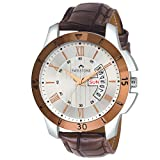 Swisstone G350-SLV-BRW Brown Leather Strap Wrist Watch for Men