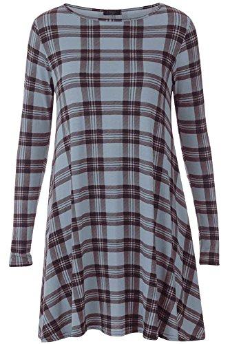 Generic - Robe - Robe de swing - Col Ras Du Cou - Manches Longues - Femme multicolore * taille unique Gris