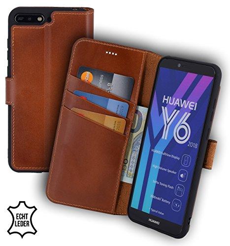 Suncase Huawei Y6 (2018) Book-Style (Slim-Fit) Ledertasche Leder Tasche Handytasche Schutzhülle Case Hülle (mit Standfunktion und Kartenfach - Bruchfester Innenschale) Burned - Cognac