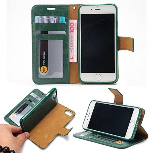 EKINHUI Case Cover Verrückte Pferd Textur Flip Stand Fall Wallet Beutel Case Cover mit Card Slots & Abnehmbare Back Cover für iPhone 7 ( Color : Green ) Green