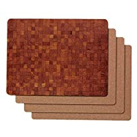Caramella Bubble Classic Wood Pattern Hardboard Cork Placemats Set of 4