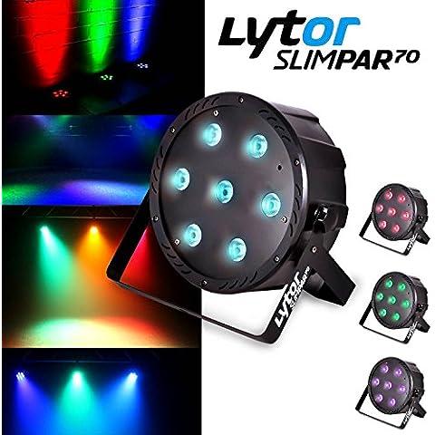 Proiettore slimpar70Ultra Piatto 7LED (4en1) X 10W RGB/UV/DMX lytor