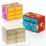 Baker Ross Commodes à tiroirs en bois à fabriquer et à décorer- Arts plastiques et loisirs créatifs pour enfant - Boîte de 2 - version anglaise