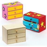 Baker Ross Commodes à tiroirs en Bois à fabriquer et à décorer- Arts Plastiques et Loisirs créatifs pour Enfant (Boîte de 2)