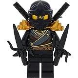 LEGO Ninjago Minifigur Cole Rebooted aus Set 70723 mit goldener Rüstung incl. 4 GALAXYARMS Schwertern