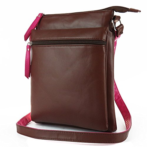 Mefly Diagonal Zipper Bag Sacca Doppia Ampia Capacità Unica Borsa A Tracolla Nero brown