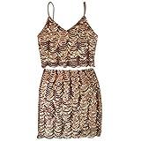 Milya Damen Gold Pailletten Sexy Halfter Rock Zweiteilige Wellenförmige Gemusterte Fischschuppen Kleid M