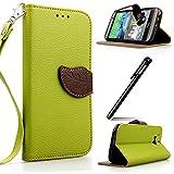 BtDuck Brieftasche Leder Hülle Grün für HTC One M8,HTC One M8 Handyhülle, Blume PU Leder Stand Tasche Wallet Flip Cover Etui Silikon Schutzhülle Briefcase Lederhülle Stand Tasche für HTC One M8