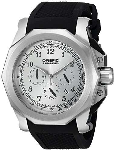 Orefici Quartz Stainless Steel and Rubber Casual Watch, Color:Black (Model: ORM2C4882)