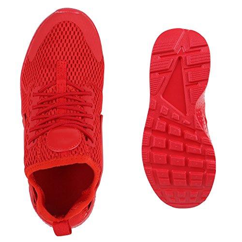 Damen Herren Laufschuhe Runners Bequeme Sportschuhe Profilsohle Rot Brooklyn