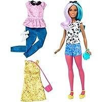 Barbie Muñeca fashionista, peinado multicolor (Mattel DTF05)