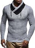 LEIF NELSON Herren Pullover Strickpullover Hoodie Longsleeve Langarm Sweater Sweatshirt Fein-Strick Basic Schalkragen