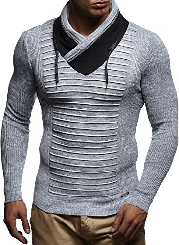 LEIF NELSON Herren Pullover Strickpullover Hoodie Longsleeve langarm Sweater Sweatshirt Fein-Strick Basic Schalkragen Crew Neck LN1640; Grš§e M, Ecru-Grau