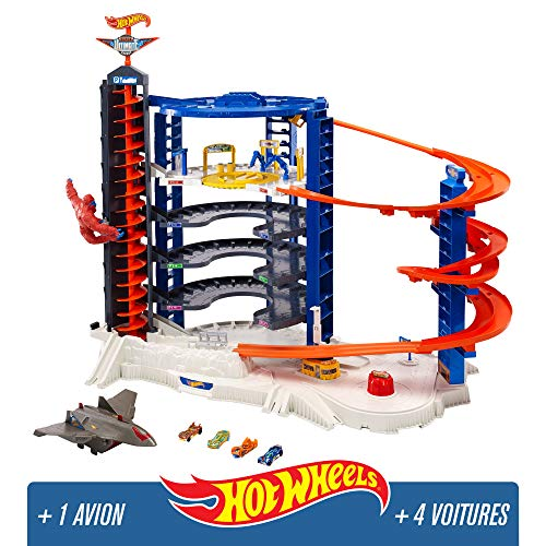 Hot Wheels City Super Garage Ultime, coffret de jeu pour petites voitures avec circuit et pistes, Jouet pour enfant, FDF25