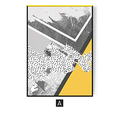 rt-kreativer Wand-Dekoration-nordischer Ins Gelber Storytelling - abstrakte Pers5onlichkeit-Kunst-Farben-Kasten, Segeltuch, hochauflösender Mikro-Spray, Fester Holzrahmen, Wohnzim ()