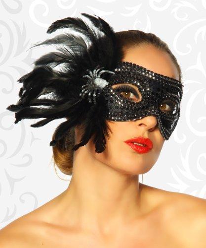 jowiha® Venezianische Maske Venezia Variationen in Schwarz Weiß Gold mit Schmuck (Maske mit Spinne und Pailletten)