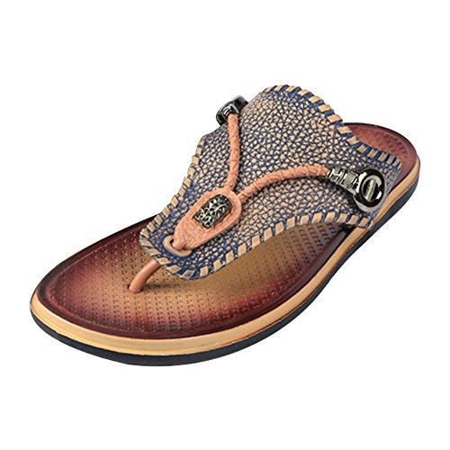 Eastlion Herren Sommer Pantoffeln Flip Flops Strings Strand Schuhe Sandalen Blau