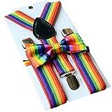 Trixes 2-teiliges Set aus Fliege und Hosenträgern in den Regenbogenfarben Rainbow Bow Tie für LGBT Pride Events und Party Dress up
