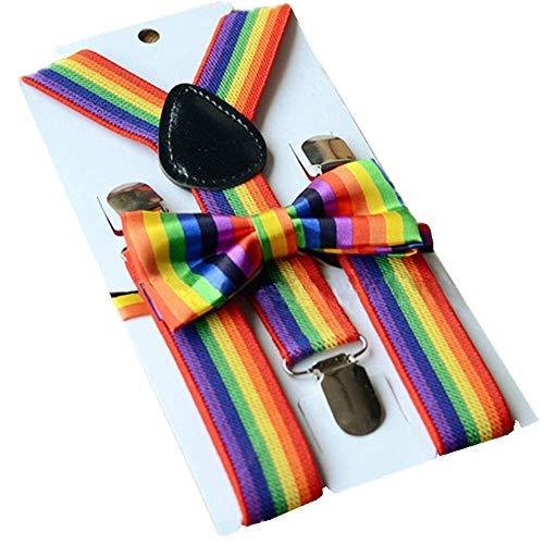 Regenbogen Kostüm Herren - Trixes 2-teiliges Set aus Fliege und