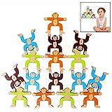 LHKJ 16 pezzi Giochi di Accatastamento in Legno,Costruzione Giocattoli per Bambini Scimmie Blocchi di Bilanciamento