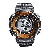WMWMY Herren Sport Uhr Wasserdicht Leben Double Impact Hintergrundbeleuchtung LED Digital Armbanduhr Chronograph Geschenk, Orange