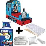 Bebegavroche Premium Bett Lokomotive Thomas und Seine Freunde = Bett + Matratze & Bettbezug + Kissen Thomas