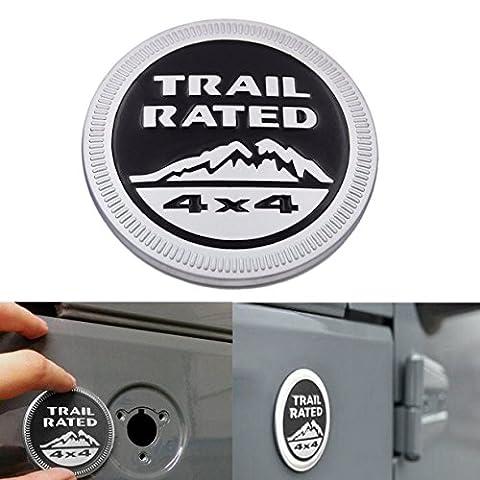 Emblème Trail Rated 4x4 fonde en Métal pour Jeep Wrangler JK Unlimited Cherokee Rubicon Liberty Patriot Latitude Hydro( Noir ).