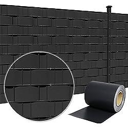 HENGMEI 19cmx35m Bande de Protection en PVC Brise Vue Pare Vent Comprend des Clips de Montage pour Clôture de Jardin, Anthracite