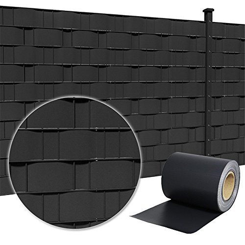 HENGMEI PVC Sichtschutzstreifen 35m x 19cm mit Befestigungsclipse Sichtschutzfolie Windschutz Stabmattenzaun Gartenzaun Blickdicht (35m x 19cm, Anthracite)