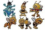 alles-meine.de GmbH 6 tlg. Set Biene Maja, Flip und Willi - 7 cm * 6,5 cm - Bügelbilder - Aufnäher Applikation Kinder / Honig