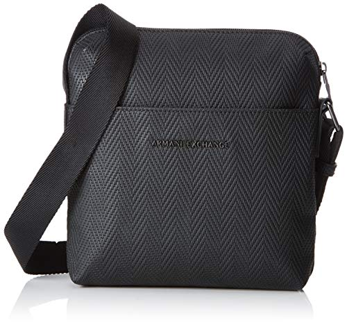 Armani Exchange Herren Old Logo Crossbody Bag Business Tasche, Schwarz (Black Chevron), 22x3x20 cm