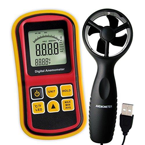 2-in-1 Digital-Thermo-Anemometer, Air Flow Wind Speed Meter, 5 Parameter (m/s, km/h, ft/min, Knoten & km/h) mit Thermometer Temperatur, 0 ~ 45m/s Geschwindigkeit Balkendiagramm Surf & Beleuchtung (Wetter Meter Anemometer)