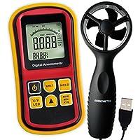 2-in-1 Digital-Thermo-Anemometer, Air Flow Wind Speed Meter, 5 Parameter (m/s, km/h, ft/min, Knoten & km/h) mit Thermometer Temperatur, 0 ~ 45m/s Geschwindigkeit Balkendiagramm Surf & Beleuchtung