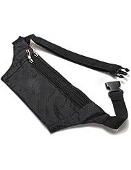 SODIAL(R) Unisex Bum bolso de la cintura de Handy Viajes Deporte Fanny Dinero Monedero Paquete Cinturon Zip Pouch - Negro