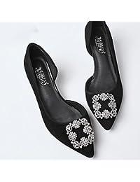 YIXINY Zapatos de tacón Moda Rhinestone Zapatos De Tacón Alto Zapatos De Mujer Talón Grueso Salvaje Damas De Honor...