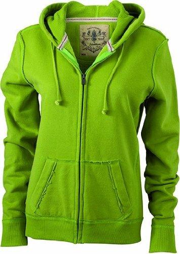 James & Nicholson Damen Sweatshirt Kapuzenjacke Ladies' Vintage Hooded Sweatshirt, Lime Green, L Twill Hooded Fleece-sweatshirt