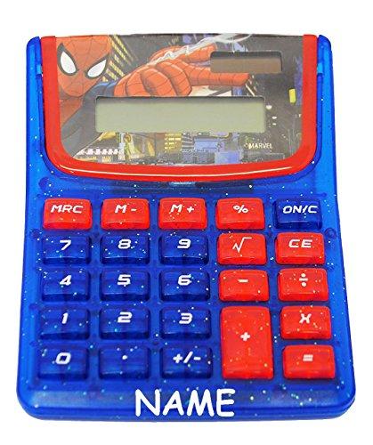 """Taschenrechner - """" Spider-Man """" - incl. Name - SOLAR - OHNE Batterien funktionierend ! - Kindertaschenrechner - für Kinder - Spiderman / Jungen - Grundschule - Schule Rechnen / Rechner - LC-Display"""