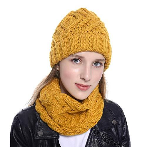 iBaste 2019 Damen Strickmütze Mit Schal, Winter Set mit Loop-Schal, Strickmütze,Frauen Weichen Warmen Strickmütze Schal -
