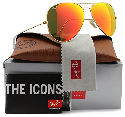 Ray Ban 3025 Aviator RB 3025 112/69 58mm Matte Gold Frame w/ Brown Mirror Orange