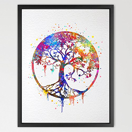 dignovel Studios Tree of Life Aquarell Art Print Wall Art Poster Eine Hochzeit Kinderzimmer Nature Love Familie Giclée-Housewares Buddha Home Décor n346-unframed