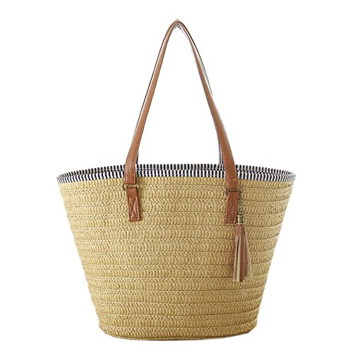 women-new-straw-handmade-large-capacity-zip-closure-top-handle-shoulder-bags-beach-tote-brown