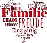 GRAZDesign 300207_40_WT032 Wandtattoo Familien - Tattoo als Herz an die Wand - Wand-Deko für Wohnzimmer/Schlafzimmer / Küche (44x40cm // 032 hellrot)