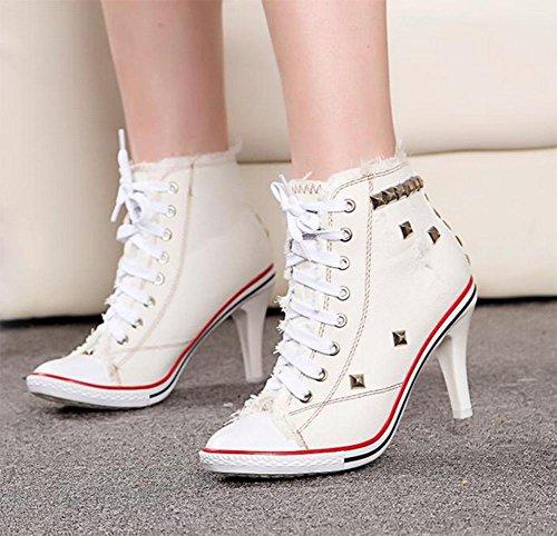 talons de cow-boy anciens rivets chaussures de toile de dentelle chaussures casual chaussures d'ascenseur Mme automne White