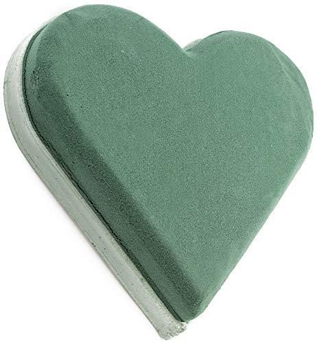 com-four® Steckmasse in Herzform, Steckschaum für Frischblumen, 20 x 19,5 x 5 cm (01 Stück - Herz) (Grab Blumen Kranz)