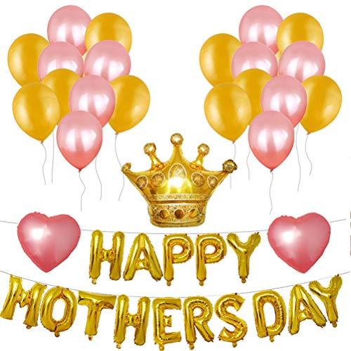 (Amosfun Muttertag Ballon Banner Krone Folienballon Buchstabenballon Herzballon Latexballons Happy Mothers Day Party Deko(Golden))
