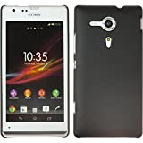 PhoneNatic Coque Rigide pour Sony Xperia SP - gommée noir - Cover Cubierta + films de protection