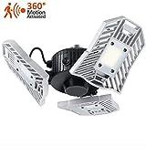 LED Aussenstrahler mit Bewegungsmelder, 60W 6000lm Einstellbare 3-Kopf-LED-Panel LED-Flutlicht, 360° Bewegungs-Sensor-Licht, IP65 Wasserdicht