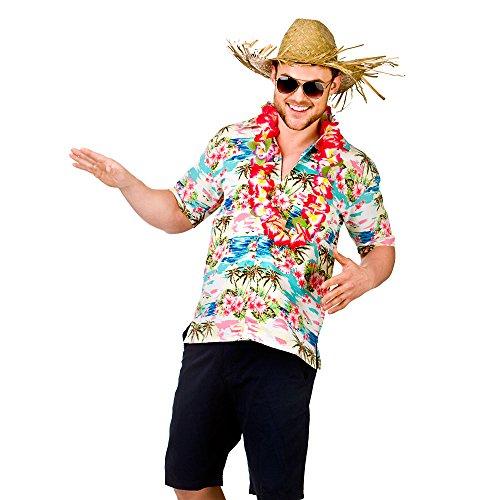 (L) Mens Hawaii Shirt Pink Flower & Palm Trees Costume for Hawaiian Fancy Dress L (Mens Hawaiian Fancy Dress Kostüm)